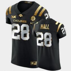 Men Iowa State Cyclones Breece Hall 2021 Fiesta Bowl Black Golden Edition Jersey