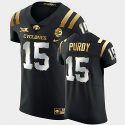 Men Iowa State Cyclones Brock Purdy 2021 Fiesta Bowl Black Golden Edition Jersey
