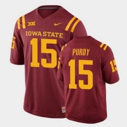 Men Iowa State Cyclones Brock Purdy College Football Cardinal Replica Jersey