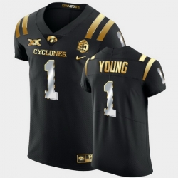 Men Iowa State Cyclones Isheem Young 2021 Fiesta Bowl Black Golden Edition Jersey
