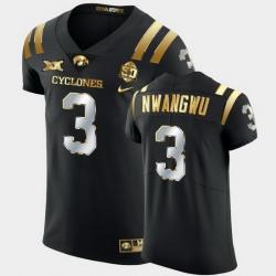 Men Iowa State Cyclones Kene Nwangwu 2021 Fiesta Bowl Black Golden Edition Jersey