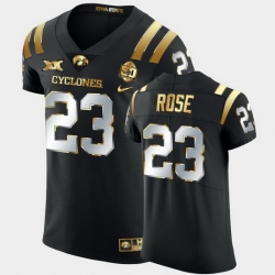 Men Iowa State Cyclones Mike Rose 2021 Fiesta Bowl Black Golden Edition Jersey