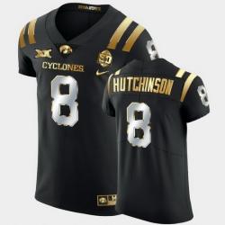 Men Iowa State Cyclones Xavier Hutchinson 2021 Fiesta Bowl Black Golden Edition Jersey