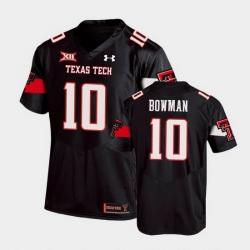 Men Texas Tech Red Raiders Alan Bowman Replica Black Football Team Jersey