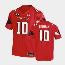 Men Texas Tech Red Raiders Alan Bowman Replica Red Football Team Jersey