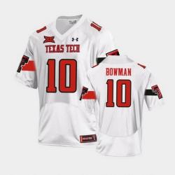 Men Texas Tech Red Raiders Alan Bowman Replica White Football Team Jersey
