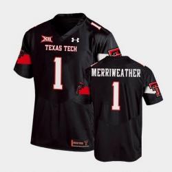 Men Texas Tech Red Raiders Krishon Merriweather Replica Black Football Team Jersey