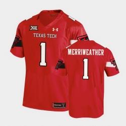Men Texas Tech Red Raiders Krishon Merriweather Replica Red Football Team Jersey