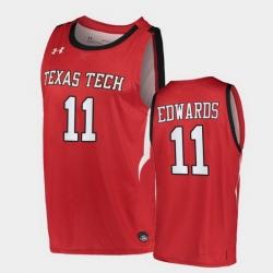 Men Texas Tech Red Raiders Kyler Edwards Alternate Red Basketball 2020 21 Jersey