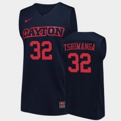 Men Dayton Flyers Jordy Tshimanga College Basketball Navy Jersey
