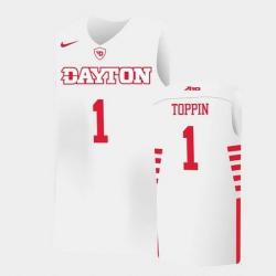 Men Dayton Flyers Obi Toppin College Basketball White Jersey 0A