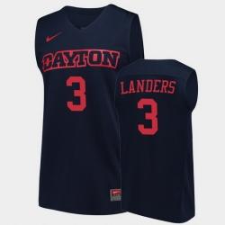 Men Dayton Flyers Trey Landers College Basketball Navy Jersey 0A