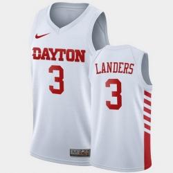 Men Dayton Flyers Trey Landers College Basketball White Jersey