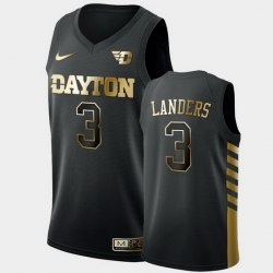 Men Dayton Flyers Trey Landers Golden Edition Black Limited Jersey