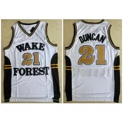 Men Wake Forest Demon Deacons 21 Tim Duncan White College Basketball Jersey