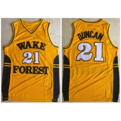 Men Wake Forest Demon Deacons 21 Tim Duncan Yellow College Basketball Jersey