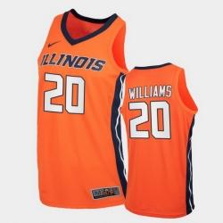 Men Illinois Fighting Illini Da'Monte Williams Replica Orange College Basketball Jersey