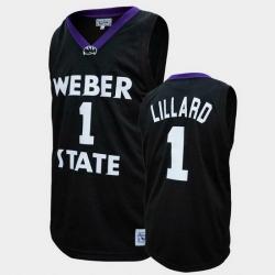 Men Weber State Wildcats Damian Lillard College Basketball Black Jersey