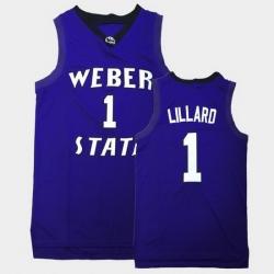 Men Weber State Wildcats Damian Lillard College Basketball Purple Jersey