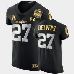 Men Cincinnati Bearcats Darrian Beavers 2021 Peach Bowl Black Golden Edition Jersey
