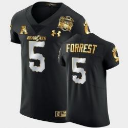 Men Cincinnati Bearcats Darrick Forrest 2021 Peach Bowl Black Golden Edition Jersey
