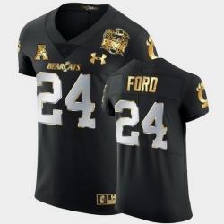 Men Cincinnati Bearcats Jerome Ford 2021 Peach Bowl Black Golden Edition Jersey