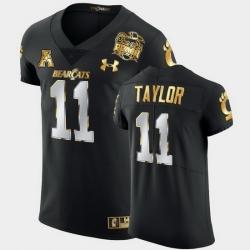 Men Cincinnati Bearcats Leonard Taylor 2021 Peach Bowl Black Golden Edition Jersey