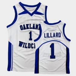 Men Damian Lillard High School Basketball White Jersey
