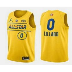 Men 2021 All Star 0 Damian Lillard Yellow Western Conference Stitched NBA Jersey