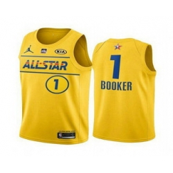 Men 2021 All Star 1 Devin Booker Yellow Western Conference Stitched NBA Jersey