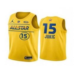 Men 2021 All Star 15 ikola Jokic Yellow Western Conference Stitched NBA Jersey