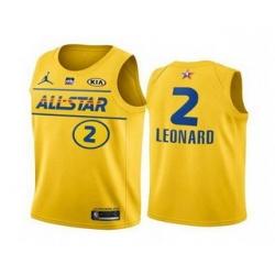 Men 2021 All Star 2 Kawhi Leonard Yellow Western Conference Stitched NBA Jersey