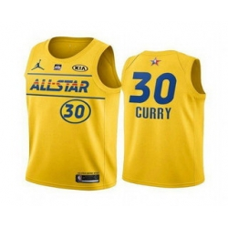 Men 2021 All Star 30 Stephen Curry Yellow Western Conference Stitched NBA Jersey