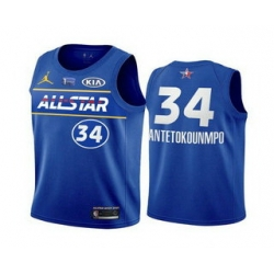 Men 2021 All Star 34 Giannis Antetokounmpo Blue Eastern Conference Stitched NBA Jersey