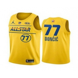 Men 2021 All Star 77 Luka Doncic Yellow Western Conference Stitched NBA Jersey