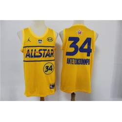 bucks 34 Giannis Antetokounmpo 2021 All Star Game Yellow Swingman Jersey