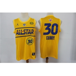 warriors 30 Stephen Curry 2021 All Star Game Yellow Swingman Jersey