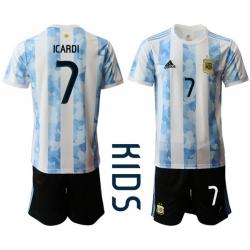 Kids Argentina Short Soccer Jerseys 025