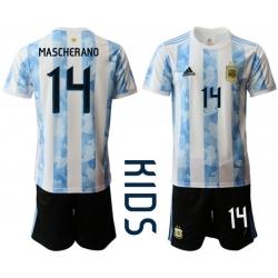 Kids Argentina Short Soccer Jerseys 030