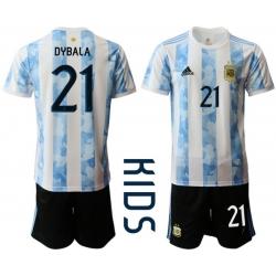 Kids Argentina Short Soccer Jerseys 032