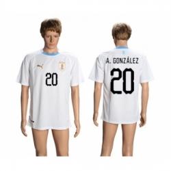 Uruguay #20 A.Gonzalez Away Soccer Country Jersey