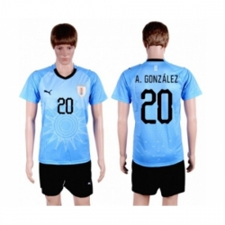 Uruguay #20 A.Gonzalez Home Soccer Country Jersey