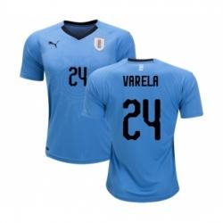 Uruguay #24 Varela Home Soccer Country Jersey