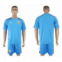 Uruguay Blank Blue Goalkeeper Soccer Country Jersey