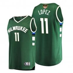bucks brook lopez green 2021 nba finals bound replica jersey
