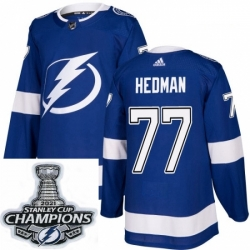 Men Adidas Tampa Bay Lightning 77 Victor Hedman Premier Royal Blue Home NHL Stitched 2021 Stanley Cup Champions Patch Jersey