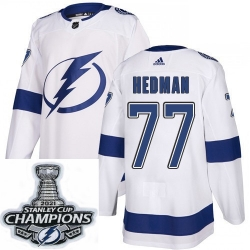 Men Adidas Tampa Bay Lightning 77 Victor Hedman Premier White Home NHL Stitched 2021 Stanley Cup Champions Patch Jersey