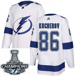 Men Adidas Tampa Bay Lightning 86 Nikita Kucherov Authentic White Home NHL Stitched 2021 Stanley Cup Champions Patch Jersey