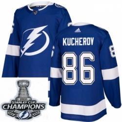 Men Adidas Tampa Bay Lightning 86 Nikita Kucherov Premier Royal Blue Home NHL Stitched 2021 Stanley Cup Champions Patch Jersey
