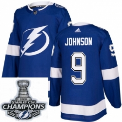 Men Adidas Tampa Bay Lightning 9 Tyler Johnson Premier Royal Blue Home NHL Stitched 2021 Stanley Cup Champions Patch Jersey